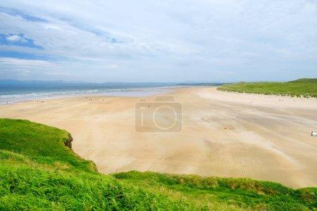 Tullan Strand, Wide flat sandy beach in County Donegal, Ireland.