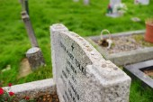 OXFORD, UK - NOVEMBER 13, 2017: The final resting place of John Ronald Reuel Tolkien and his wife Edith Mary Tolkien in old Wolvercote cemetery in Oxford, England.