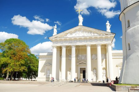 VILNIUS, LITHUANIA - JUNE 15, 2018: The Cathedral Basilica of St Stanislaus and St Ladislaus of Vilnius, the main Roman Catholic Cathedral of Lithuania.