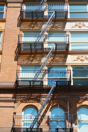 Photo for Apartment buildings with emergency stairs in Little Italy neighborhood of Manhattan - Royalty Free Image