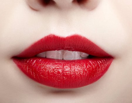 Closeup macro portrait of female part of face. Human woman lips with day beauty makeup. Girl with perfect plump  lips shape.