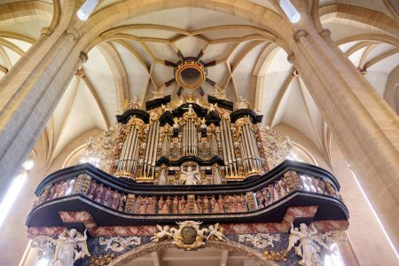 ERFURT, GERMANY - OCTOBER 4, 2010:  Organ of Severin church (Severikirche in German) in Erfurt, Thuringia, Germany