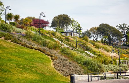 The pavilion at Seafront gardens (Langmoor and Lister Gardens) in Lyme Regis. West Dorset. England