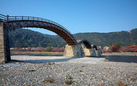 The famous historical wooden arch Kintai Bridge in Iwakuni city