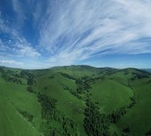 Aerial view panorama of Altai rural landscape