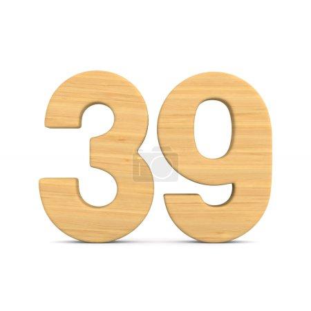 Photo pour Numéro trente neuf sur fond blanc. Illustration 3d isolée - image libre de droit