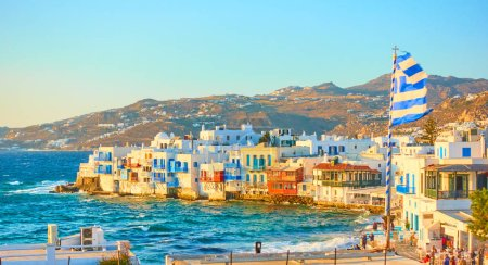 Photo for Panoramic view of Mykonos town with and Little Venice district at sundown, Cyclades, Greece - Royalty Free Image