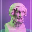 Gypsum copy of ancient statue of Homer head for ar...
