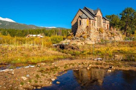 Church of Saint Malo near Estes Park at sunny autumn day, Rocky Mountains, Colorado, USA.