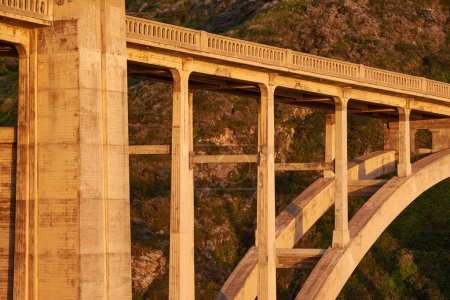 Bixby Creek Bridge at sunset, Big Sur Area, California, USA.