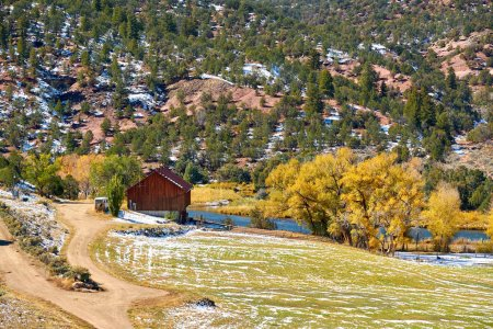 Scenic view of landscape with autumn trees and river, Rocky Mountains, Colorado, USA.