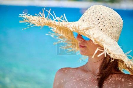 Photo for Woman in bikini on beach, Sithonia, Greece - Royalty Free Image