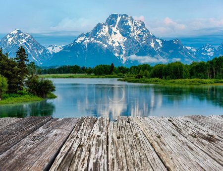 Photo for Grand Teton Mountains from Oxbow Bend on the Snake River at dawn. Grand Teton National Park, Wyoming, USA. - Royalty Free Image