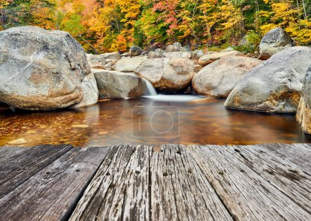 Photo for Swift River cascades at autumn in White Mountain National Forest, New Hampshire, USA. Fall in New England. - Royalty Free Image