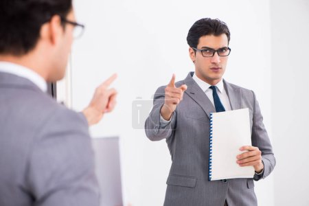 Photo for Politician planning speach in front of mirror - Royalty Free Image