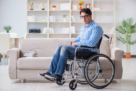 Photo for Young student on wheelchair in disability concept - Royalty Free Image