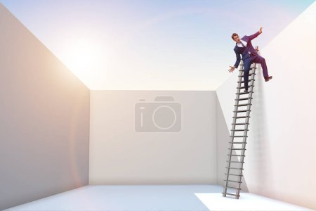 Photo for Businessman climbing a ladder to escape from problems - Royalty Free Image