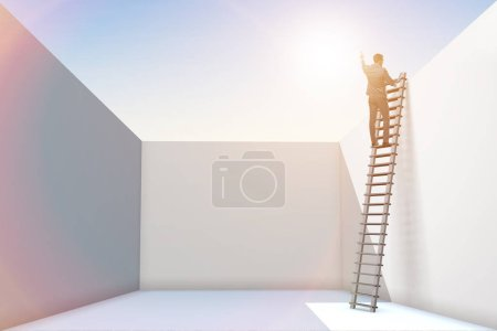 Photo pour Homme d'affaires grimpant une échelle pour échapper à des problèmes - image libre de droit