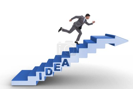 Photo for Concept of idea with businessman climbing steps stairs - Royalty Free Image