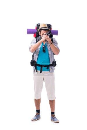 Photo pour Sac à dos avec caméra isolée sur fond blanc - image libre de droit