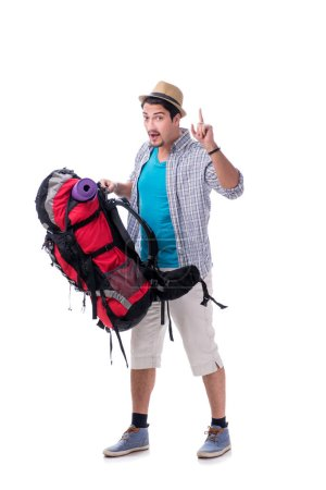 Photo for Backpacker with large backpack isolated on white - Royalty Free Image