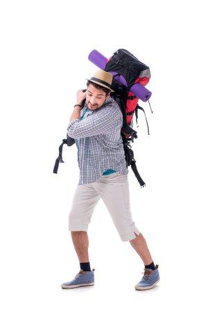 Photo pour Sac à dos avec grand sac à dos isolé sur blanc - image libre de droit
