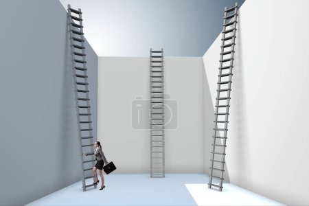 Photo for Businesswoman climbing a ladder to escape from problems - Royalty Free Image