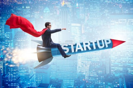 Photo for Superhero businessman in start-up concept flying rocket - Royalty Free Image