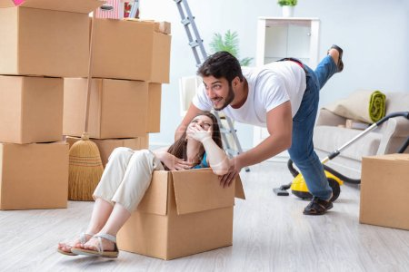 Photo for Young family moving to new apartment - Royalty Free Image