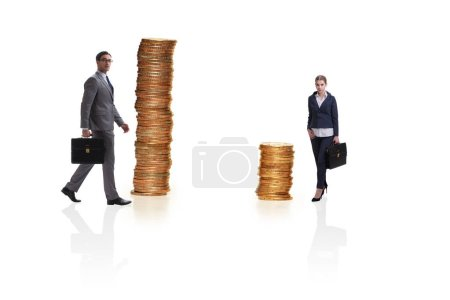 Photo for Concept of inequal pay and gender gap between man woman - Royalty Free Image