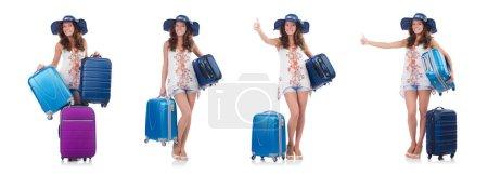 Photo pour Femme se préparant pour les voyages en vacances d'été - image libre de droit