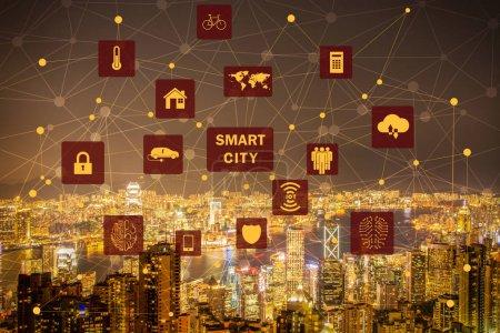 Photo pour Concept de ville intelligente et internet des objets - image libre de droit
