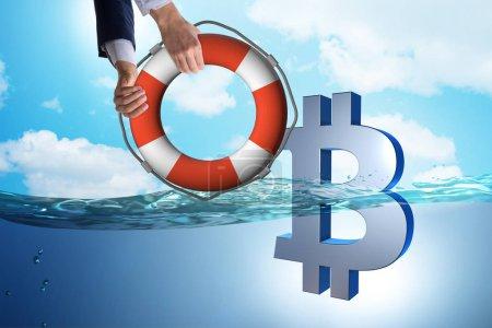 Photo pour Homme d'affaires épargne Bitcoin monnaie de l'inflation - image libre de droit