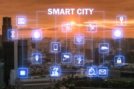 Photo for Concept of smart city and internet of things - Royalty Free Image