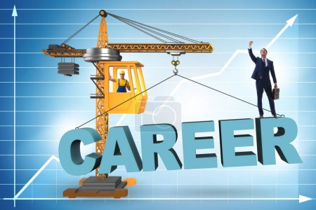Photo for Businessman in career progression concept with crane - Royalty Free Image