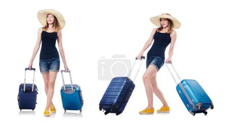 Photo pour Femme avec des suites se préparant pour les vacances d'été - image libre de droit