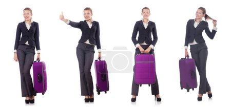 Photo for Woman with suitacases preparing for summer vacation - Royalty Free Image