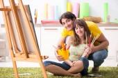 "Постер, картина, фотообои ""Молодая пара, наслаждаясь живопись на дому"""