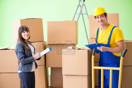 Photo for Woman boss and man contractor working with boxes delivery - Royalty Free Image