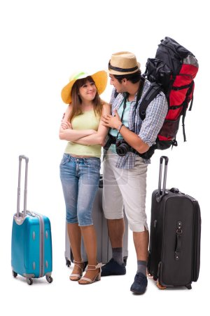 Photo for Young family preparing for vacation travel on white - Royalty Free Image