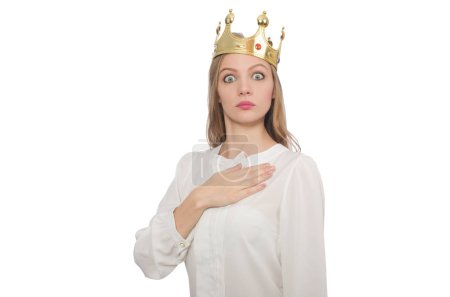 Photo for Woman queen wearing crown isolated on white - Royalty Free Image