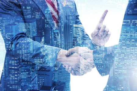 Photo for Business concept of cooperation with handshake - Royalty Free Image