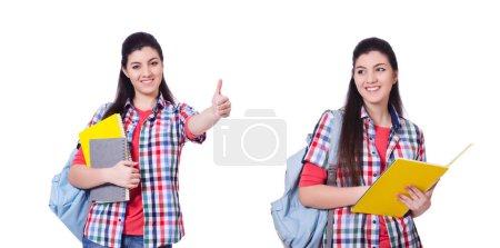 Photo pour Jeune étudiant avec des livres sur le blanc - image libre de droit