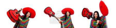 Photo pour Joueur de guitare mexicaine femme blanc - image libre de droit