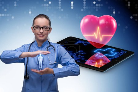 Photo for Telemedicine concept with remote monitoring of heart condition - Royalty Free Image