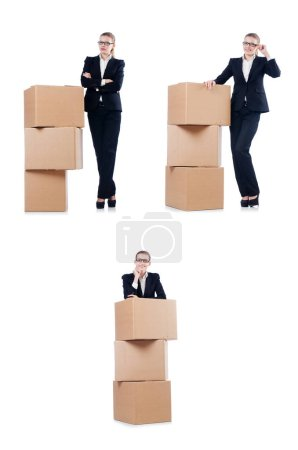 Photo for Woman businesswoman with boxes on white - Royalty Free Image