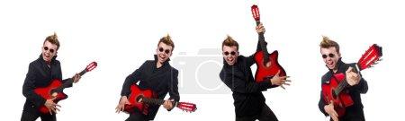 Photo pour Joueur de guitare homme isolé sur blanc - image libre de droit