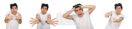 Photo for Funny man suffering from mental disorder - Royalty Free Image
