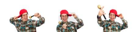 Photo pour Drôle de type chant isolé sur blanc - image libre de droit