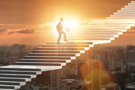 Photo for Businessman climbing career ladder over city - Royalty Free Image